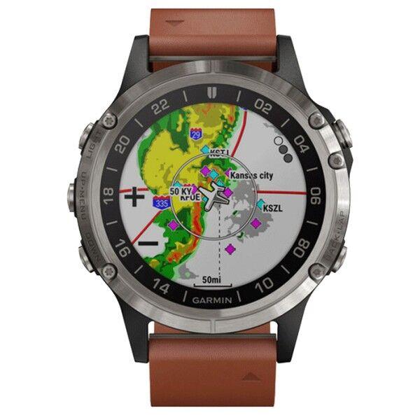 GARMIN Montre Garmin D2 Delta titane bracelet cuir brun 47 mm