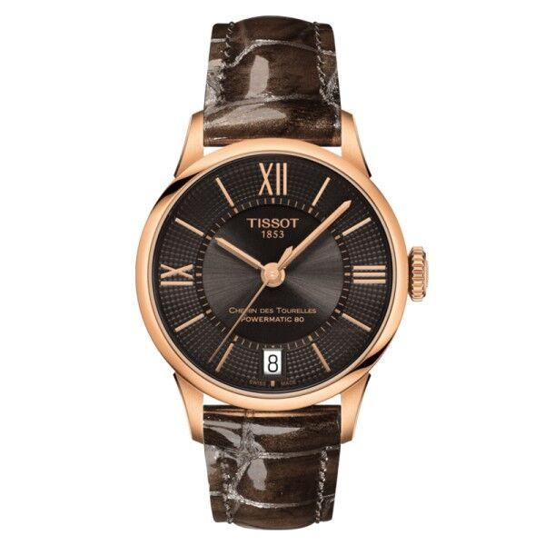 TISSOT Montre Tissot T-Classic Chemin Des Tourelles Powermatic 80 cadran bronze chiffres romains et index bracelet cuir marron 32 mm