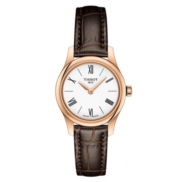 TISSOT Montre Tissot T-Classic Tradition Lady quartz cadran blanc chiffres romains bracelet cuir brun 25 mm