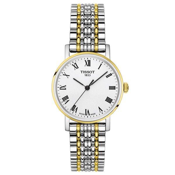 TISSOT Montre Tissot T-Classic Everytime Lady quartz cadran argent chiffres romains bracelet acier bicolore 30 mm