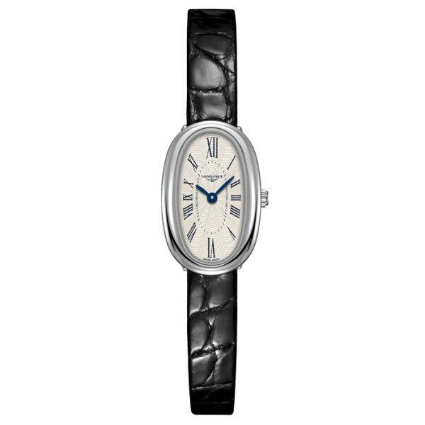 LONGINES Montre Longines Symphonette quartz cadran argenté chiffres romains bracelet croco noir