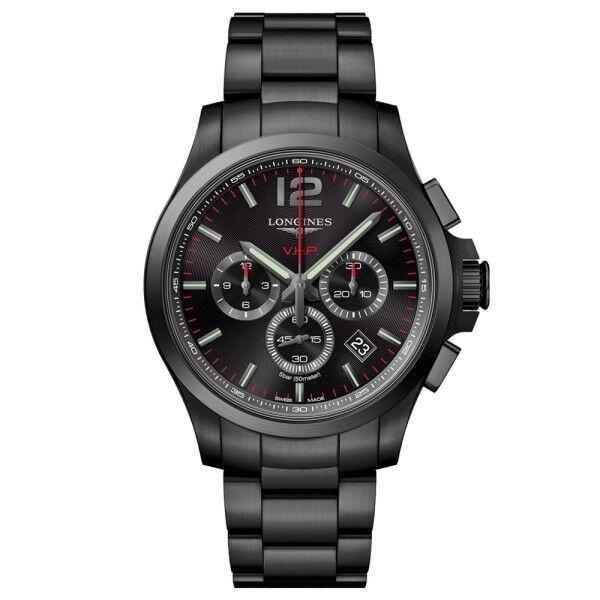 LONGINES Montre Longines Conquest VHP quartz chronographe acier PVD noir cadran noir 44 mm