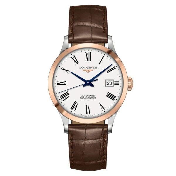 LONGINES Montre Longines Record automatique cadran blanc chiffres romains bracelet cuir marron 38,5 mm
