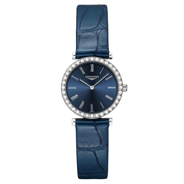 LONGINES Montre Longines La Grande Classique quartz cadran bleu chiffres romains lunette sertie 24 mm
