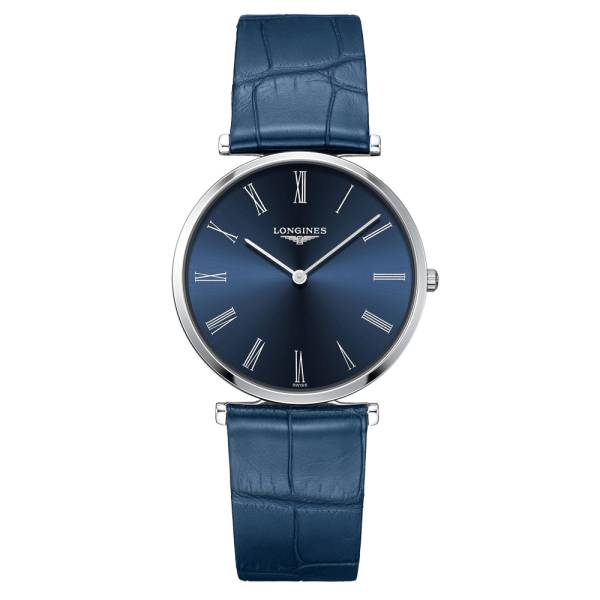 LONGINES Montre Longines La Grande Classique quartz cadran bleu chiffres romains bracelet cuir 36 mm