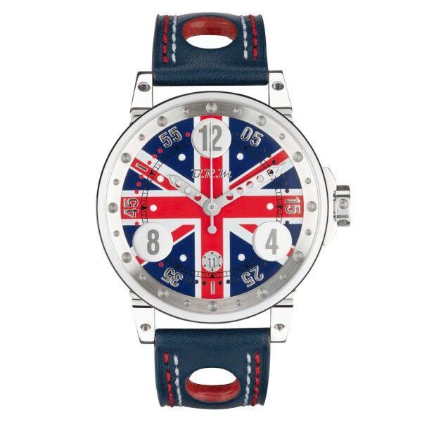 BRM Montre BRM V6 automatique inox cadran drapeau anglais bracelet cuir bleu 44 mm