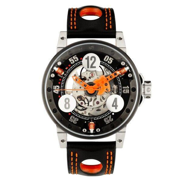 BRM Montre BRM V6 automatique inox PVD noir cadran squeletté aiguilles oranges 44 mm