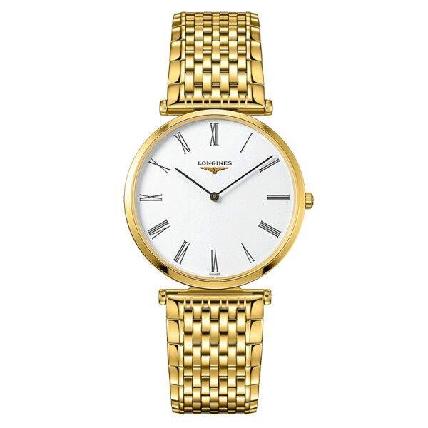 LONGINES Montre Longines La Grande Classique quartz cadran blanc chiffres romains bracelet acier PVD doré 36 mm