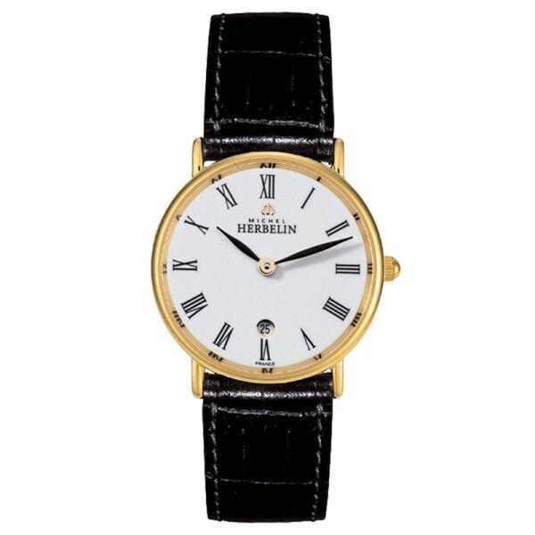 MICHEL HERBELIN Montre Michel Herbelin Classiques quartz PVD or jaune cadran blanc chiffres romains bracelet cuir noir 26 mm