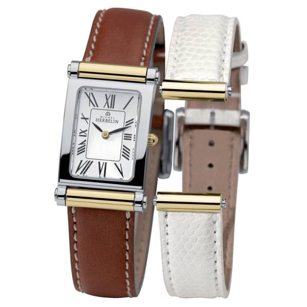 MICHEL HERBELIN Montre Michel Herbelin Coffret Antarès quartz cadran argent chiffres romains bracelets cuir brun et blanc