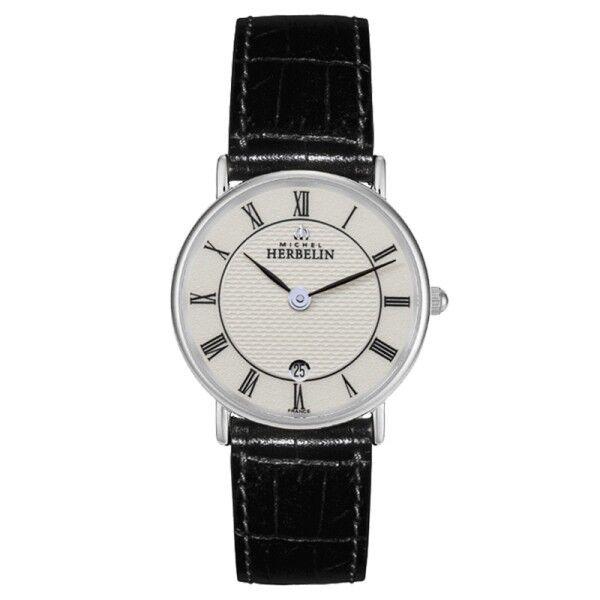 MICHEL HERBELIN Montre Michel Herbelin Classiques quartz cadran blanc chiffres romains bracelet cuir noir 26 mm