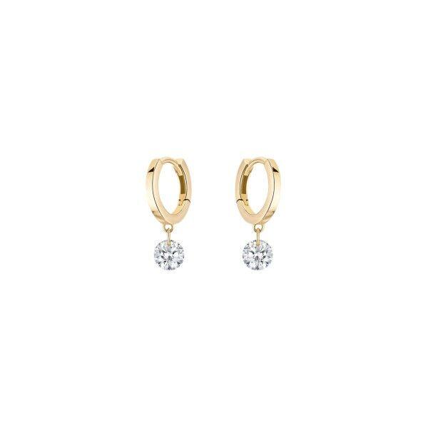 LA BRUNE ET LA BLONDE Mini créoles La Brune et La Blonde 360° en or jaune 2 diamants taille brillant 2 x 0,20 carat