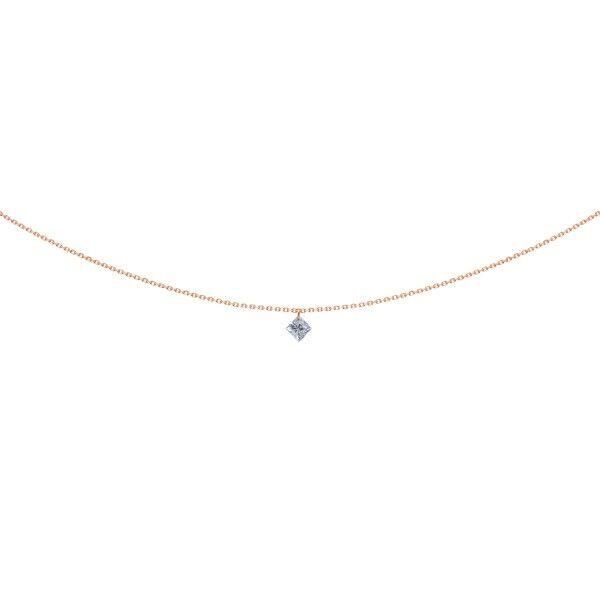 LA BRUNE ET LA BLONDE Pendentif La Brune et La Blonde 360° en or rose diamant taille princesse 0,20 carat