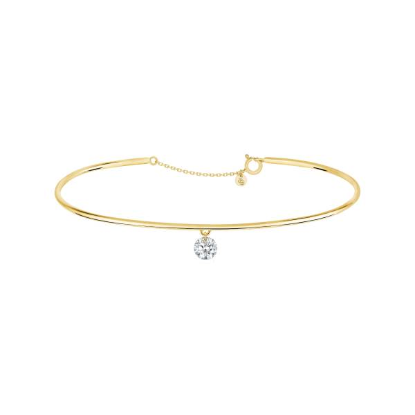 LA BRUNE ET LA BLONDE Jonc La Brune et La Blonde 360° en or jaune diamant taille brillant 0,20 carat