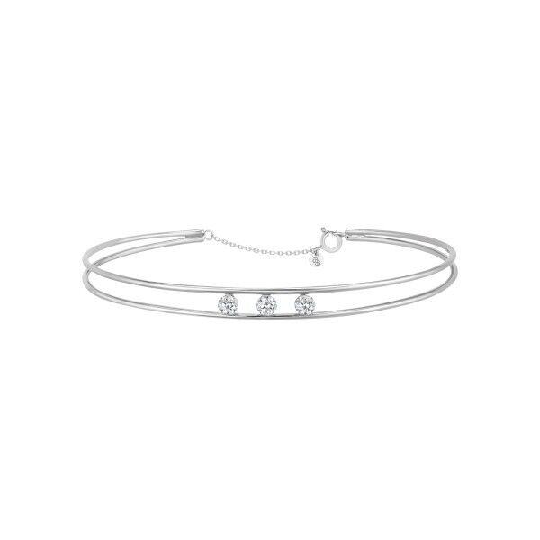 LA BRUNE ET LA BLONDE Jonc La Brune et La Blonde Hula Hoop en or blanc 3 diamants taille brillant 0,60 carat