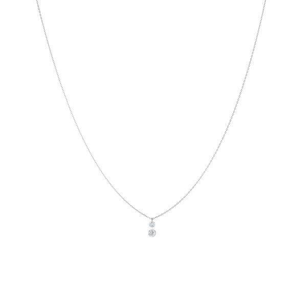 LA BRUNE ET LA BLONDE Collier La Brune et La Blonde 360° Duo en or blanc 2 diamants taille brillant 0,20 carat