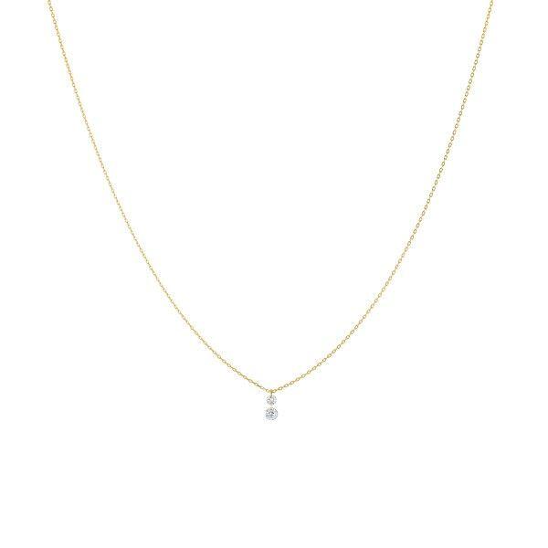 LA BRUNE ET LA BLONDE Collier La Brune et La Blonde 360° Duo en or jaune 2 diamants taille brillant 0,20 carat