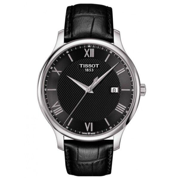 TISSOT Montre Tissot T-Classic Tradition quartz cadran noir chiffres romains bracelet cuir noir 42 mm