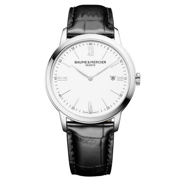 BAUME & MERCIER Montre Baume et Mercier Classima quartz cadran blanc chiffres romains bracelet cuir veau noir 42 mm