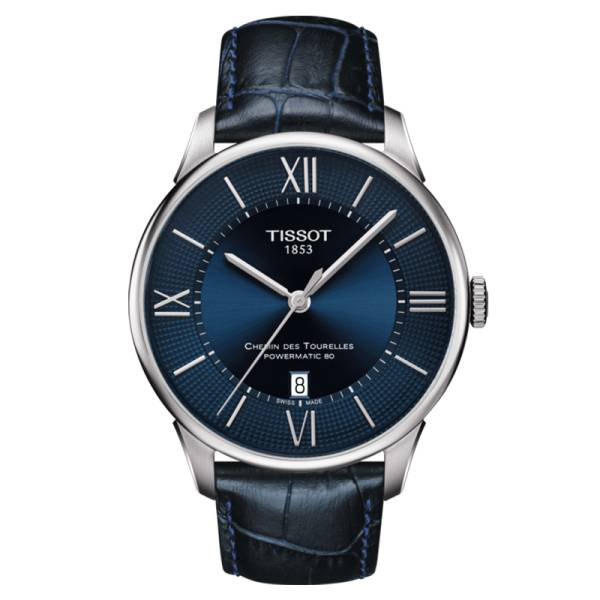 TISSOT Montre Tissot T-Classic Chemin Des Tourelles Powermatic 80 cadran bleu chiffres romains et index bracelet cuir bleu 42 mm