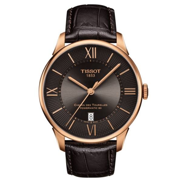 TISSOT Montre Tissot T-Classic Chemin Des Tourelles Powermatic 80 cadran bronze chiffres romains et index bracelet cuir marron 42 mm