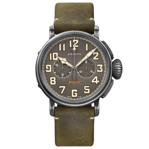 ZENITH Montre Zenith Heritage Pilot Ton-Up Café Racer El Primero Chronograph cadran gris ardoise bracelet nubuck vert 45 mm