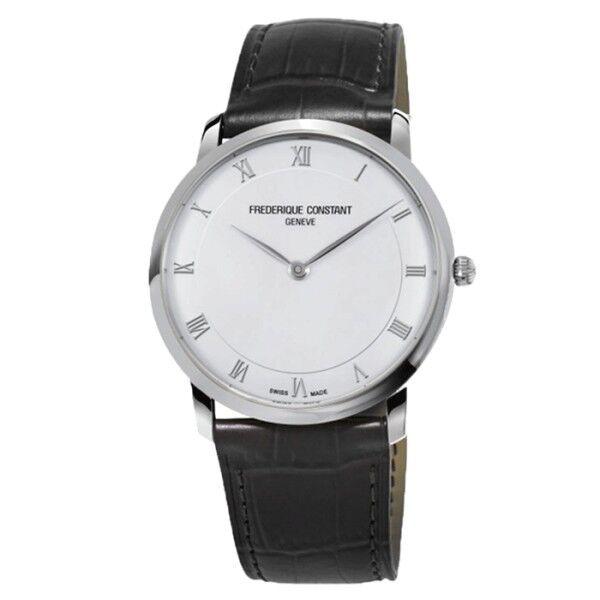FRÉDÉRIQUE CONSTANT Montre Frédérique Constant Slimline quartz cadran blanc chiffres romains bracelet cuir noir 39 mm