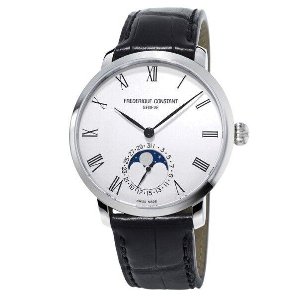 FRÉDÉRIQUE CONSTANT Montre Frédérique Constant Slimline Moonphase automatique cadran blanc chiffres romains bracelet cuir noir 42 mm