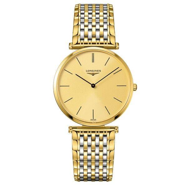 LONGINES Montre Longines La Grande Classique quartz cadran doré chiffres romains bracelet acier bicolore 36 mm