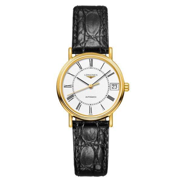 LONGINES Montre Longines Présence automatique cadran blanc chiffres romains bracelet cuir noir 30 mm