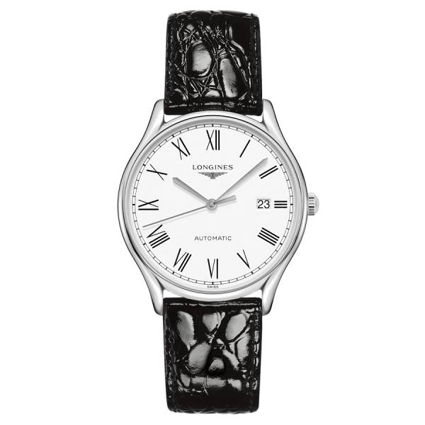 LONGINES Montre Longines Lyre automatique cadran blanc chiffres romains bracelet cuir noir 38,5 mm