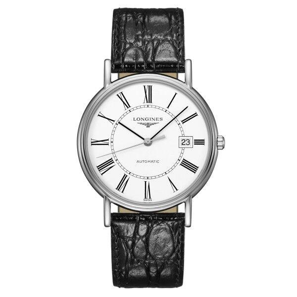 LONGINES Montre Longines Présence automatique cadran blanc chiffres romains bracelet cuir 38,5 mm