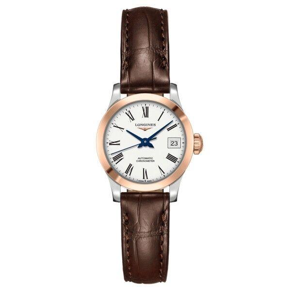 LONGINES Montre Longines Record automatique acier et or rose chiffres romains bracelet cuir marron 26 mm