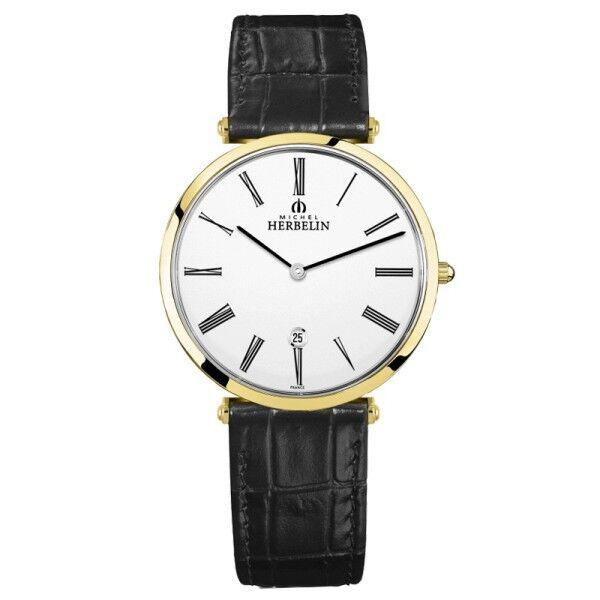 MICHEL HERBELIN Montre Michel Herbelin Epsilon quartz cadran blanc chiffres romains bracelet cuir noir 38 mm