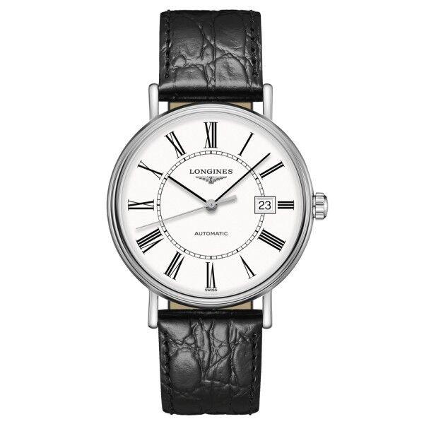 LONGINES Montre Longines Présence automatique cadran blanc chiffres romains bracelet cuir noir 40 mm