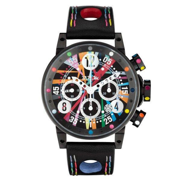 BRM Montre BRM V12 automatique inox PVD noir cadran multicolore bracelet cuir noir 44 mm