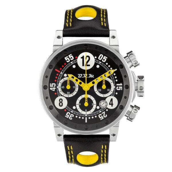 BRM Montre BRM V12 automatique inox cadran noir aiguilles jaunes bracelet cuir 44 mm