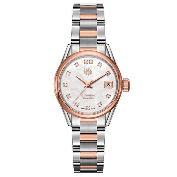 TAG HEUER Montre TAG Heuer Carrera Lady Calibre 9 cadran nacre blanche bracelet acier et or rose 28 mm