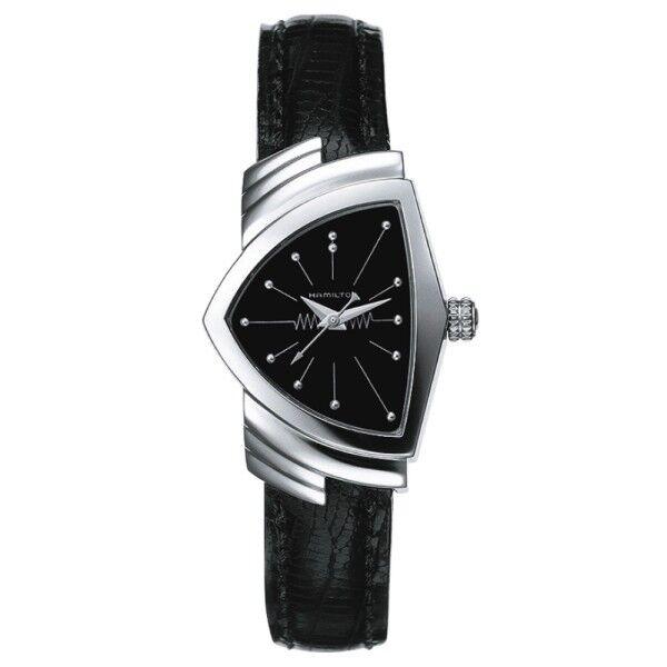 HAMILTON Montre Hamilton Ventura cadran noir bracelet cuir de veau grainé façon lézard noir