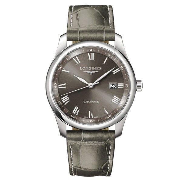 LONGINES Montre Longines Master Collection automatique cadran gris chiffres romains bracelet cuir gris 40 mm