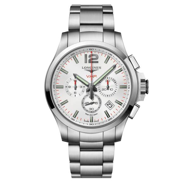 LONGINES Montre Longines Conquest VHP quartz chronographe cadran argenté bracelet acier 44 mm