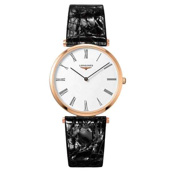 LONGINES Montre Longines La Grande Classique quartz cadran blanc chiffres romains bracelet croco noir 36 mm