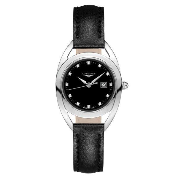 LONGINES Montre Longines Equestrian quartz cadran noir index diamants bracelet cuir noir 30 mm