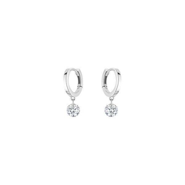 LA BRUNE ET LA BLONDE Mini créoles La Brune et La Blonde 360° en or blanc 2 diamants taille brillant 2 x 0,20 carat