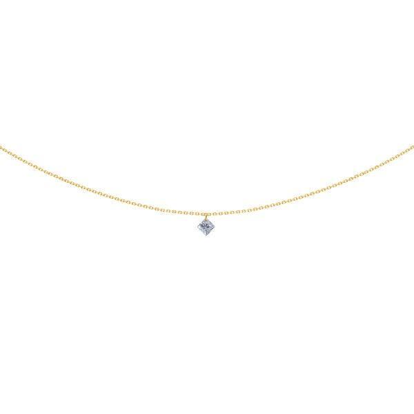 LA BRUNE ET LA BLONDE Pendentif La Brune et La Blonde 360° en or jaune diamant taille princesse 0,20 carat
