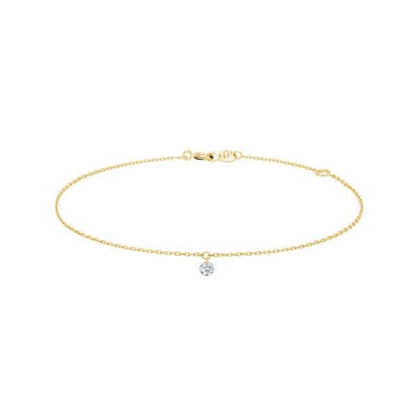 LA BRUNE ET LA BLONDE Bracelet La Brune et La Blonde 360° en or jaune diamant taille brillant 0,20 carat