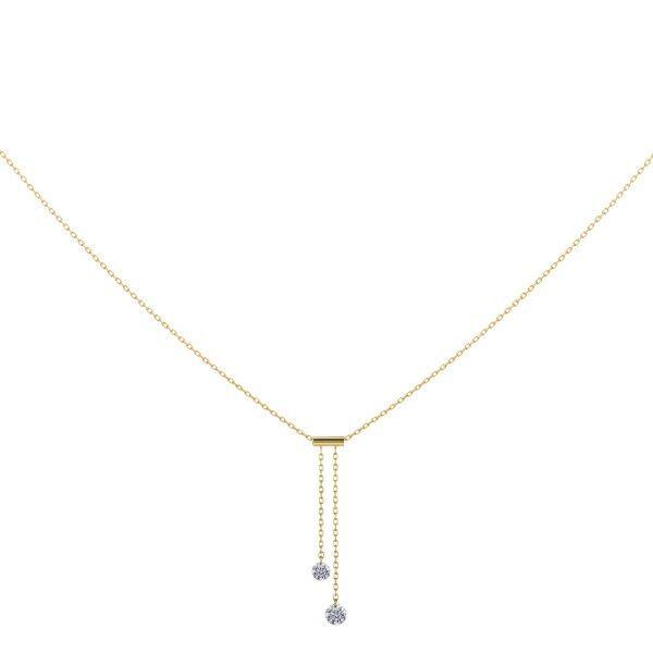 LA BRUNE ET LA BLONDE Collier Cravate La Brune et La Blonde 360° en or jaune 2 diamants taille brillant 0,20 carat