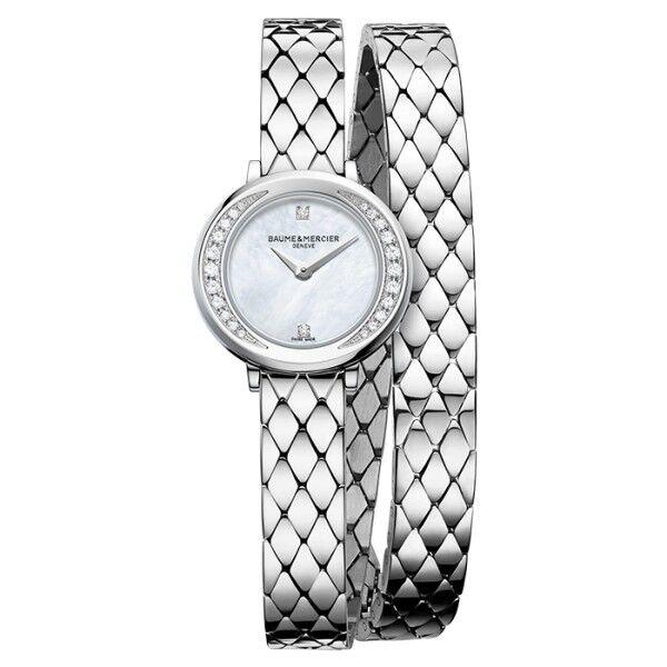BAUME & MERCIER Montre Baume et Mercier Petite Promesse quartz cadran nacre bracelet acier double tour 22 mm