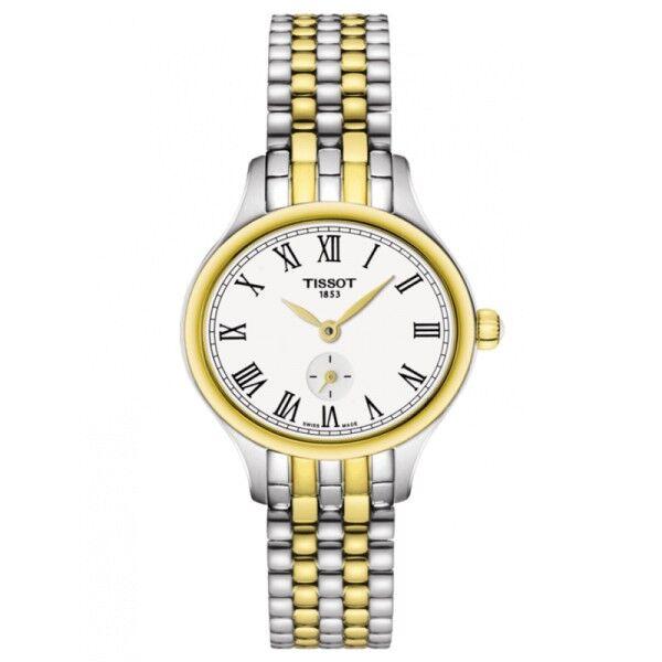 TISSOT Montre Tissot T-Lady Bella Ora quartz cadran argent chiffres romains bracelet acier bicolore 27,2 mm