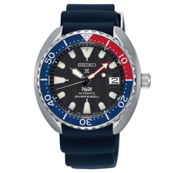 SEIKO Montre Seiko Prospex Mer Diver's Edition spéciale PADI automatique cadran noir bracelet silicone bleu 42,3 mm